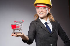 Construction worker in helmet against gray Royalty Free Stock Images