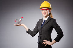 Construction worker in helmet against gray Royalty Free Stock Image