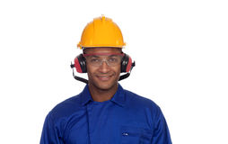 Construction worker with helmet and glasses Royalty Free Stock Image