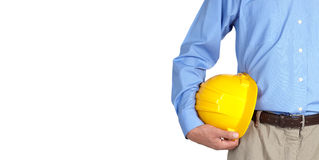 Construction worker with helmet. Stock Images