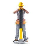 Construction worker in helmet with tool and hammer. On white isolated background Stock Image