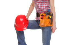 Construction worker with helmet and tools on white background Stock Image
