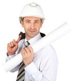 Construction worker hold jacket and paper scroll Stock Photography