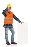 Construction worker holding bar chart. Stock Images