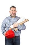 Construction worker holding blueprints Stock Photo