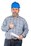 Construction worker holding blueprints Royalty Free Stock Image