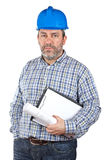 Construction worker holding blueprints Stock Images