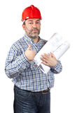 Construction worker holding blueprints Stock Photo