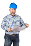 Construction worker holding blueprints Royalty Free Stock Photography