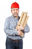 Construction worker holding cardboard tubes Royalty Free Stock Image