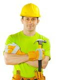 Construction worker holding claw hammer Royalty Free Stock Photos