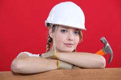 Construction worker holding hammer Royalty Free Stock Images