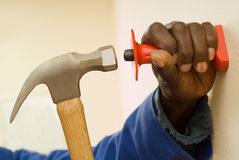 Construction Worker Holding Hammer Royalty Free Stock Photography