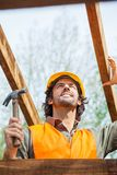 Construction Worker Holding Hammer At Site Stock Photos
