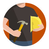 Construction worker holding helmet and hammer, work safety Royalty Free Stock Photos