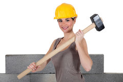 Construction worker holding mallet Royalty Free Stock Image