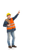 Construction worker holding rope and pointing up. Royalty Free Stock Photos