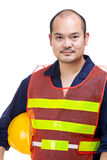 Construction worker holding safety helmet Royalty Free Stock Photo