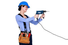 Construction worker holding screwdriver Royalty Free Stock Image