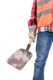 Construction worker holding a shovel Royalty Free Stock Photo
