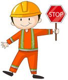 Construction worker holding stop sign Royalty Free Stock Image