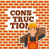 Construction worker holding wooden board wall brick. Vector illustration Royalty Free Stock Image
