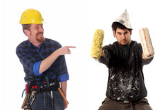 Construction worker and house painter Royalty Free Stock Photography