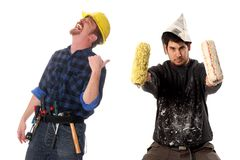 Construction worker and house painter Royalty Free Stock Photo