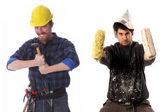 Construction worker and house painter Royalty Free Stock Image