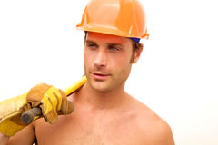 Construction Worker Hunk Stock Photography