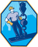 Construction Worker I-Beam Girder Ball Hook Royalty Free Stock Photo