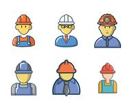 Construction worker icon set, cartoon style. Construction worker icon set. Cartoon set of construction worker vector icons for web design isolated on white Royalty Free Stock Photo
