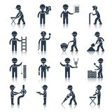 Construction worker icons black Stock Photos