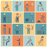 Construction worker icons flat line Royalty Free Stock Photos
