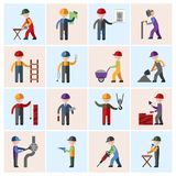 Construction worker icons flat Royalty Free Stock Image