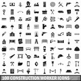 100 construction worker icons set, simple style. 100 construction worker icons set in simple style for any design vector illustration royalty free illustration