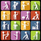 Construction worker icons white Royalty Free Stock Photo