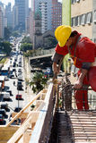 Construction Worker Installs Rebar - Vertical Royalty Free Stock Photography