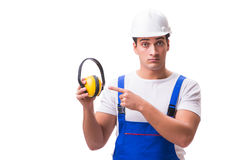 The construction worker isolated on white background Royalty Free Stock Photo