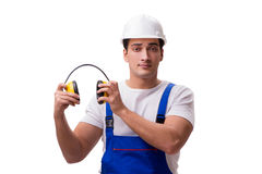 The construction worker isolated on white background. Construction worker isolated on white background Stock Photography