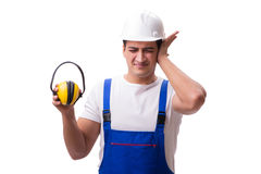 The construction worker isolated on white background. Construction worker isolated on white background Royalty Free Stock Photo