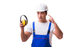 The construction worker isolated on white background Stock Photo