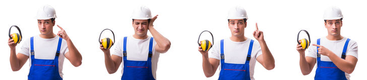 The construction worker isolated on white background Stock Photos