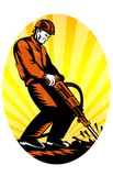 Construction Worker Jackhammer Oval. Illustration of a construction worker with jack hammer pneumatic drill drilling excavation work done in retro woodcut style Stock Images