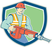 Construction Worker Jackhammer Shield Cartoon Royalty Free Stock Images