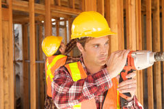 Construction Worker on the job Stock Images
