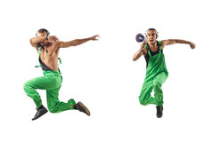 The construction worker jumping and dancing Stock Photo