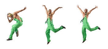 The construction worker jumping and dancing. Construction worker jumping and dancing Royalty Free Stock Photography