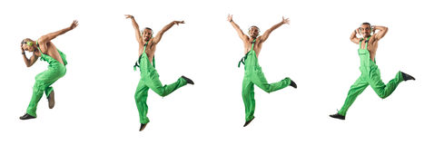 The construction worker jumping and dancing. Construction worker jumping and dancing Stock Photos
