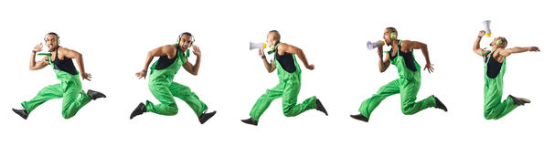The construction worker jumping and dancing. Construction worker jumping and dancing Royalty Free Stock Images